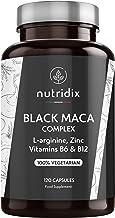 Maca Negra Andina 1.200mg por Dosis - Extracto Equivalente a 24.000 mg de Maca Planta concentrada 20:1 - Fórmula 100% Vegetariana con L-Arginina, Vitamina B6, B12 y Zinc - 120 Cápsulas Nutridix