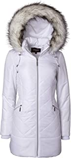 Women Long Down Alternative Winter Puffer Coat Zip-Off Plush Lined Fur Trim Hood