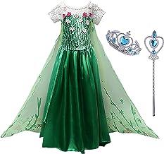 Monissy Mädchen Prinzessin Kostüm Kinder ELSA Kleid Eiskönigin Kostüm Kinder Verkleidung Königin Cosplay Party Karneval We...
