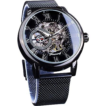 Forsining Minimalist Retro Design Staempunk Mechanical Skeleton Wrist Watch Transparent Business Mesh Band Watch