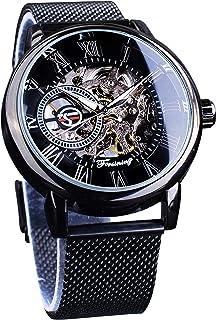 Minimalist Retro Design Staempunk Mechanical Skeleton Wrist Watch Transparent Business Mesh Band Watch
