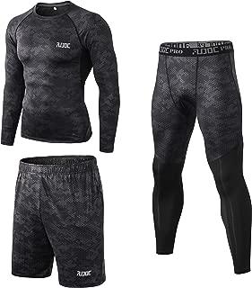 YongYao Men's Compression Long Sleeve Shirts Cool Dry Baselayer Tights and Loose Shorts 3Pcs Set