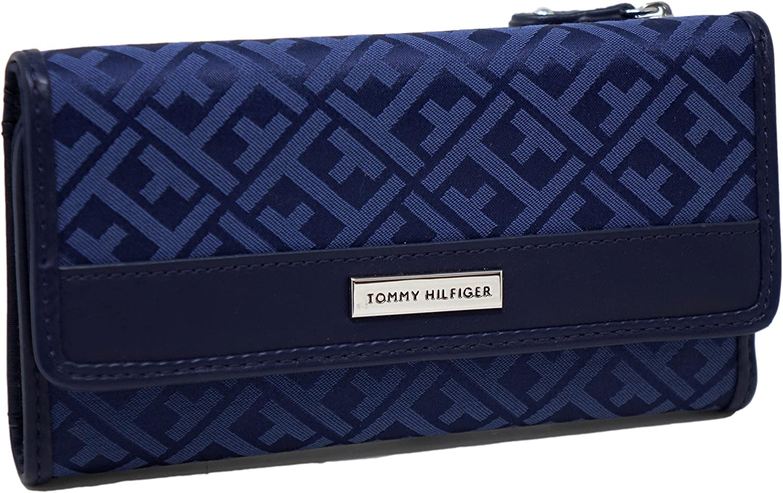 Tommy Hilfiger Women's Navy Blue Checkbook wholesale Arlington Mall Ba Wallet Logo Clutch