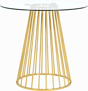 Meridian Furniture 753-T Gio Collection Modern | Contemporary Clear Tempered Glass Top Table with Wired Design, Durable Metal Base, Counter Height, Polished Gold Finish