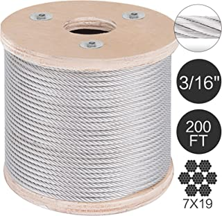 Mophorn 304 Stainless Steel Cable 3/16 Inch 7 X 19 Steel Wire Rope 200Feet Steel Cable for Railing Decking DIY Balustrade