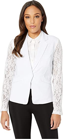 Stretch Bengaline Long Sleeve Jacket w/ Lace