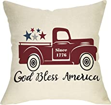 Fbcoo July 4th Patriotic Farmhouse Decorative Throw Pillow Case God Bless America Decoration Vintage Red Truck Sign Cushion Cover Home Decor 18 x 18 Inch Cotton Linen for Sofa Couch
