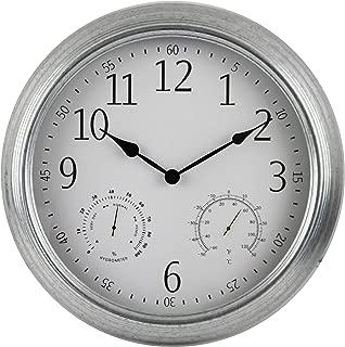 "BACKYARD EXPRESSIONS PATIO · HOME · GARDEN 914937 16"" Metal Indoor/Outdoor Weather Monitoring Clock, Silver"