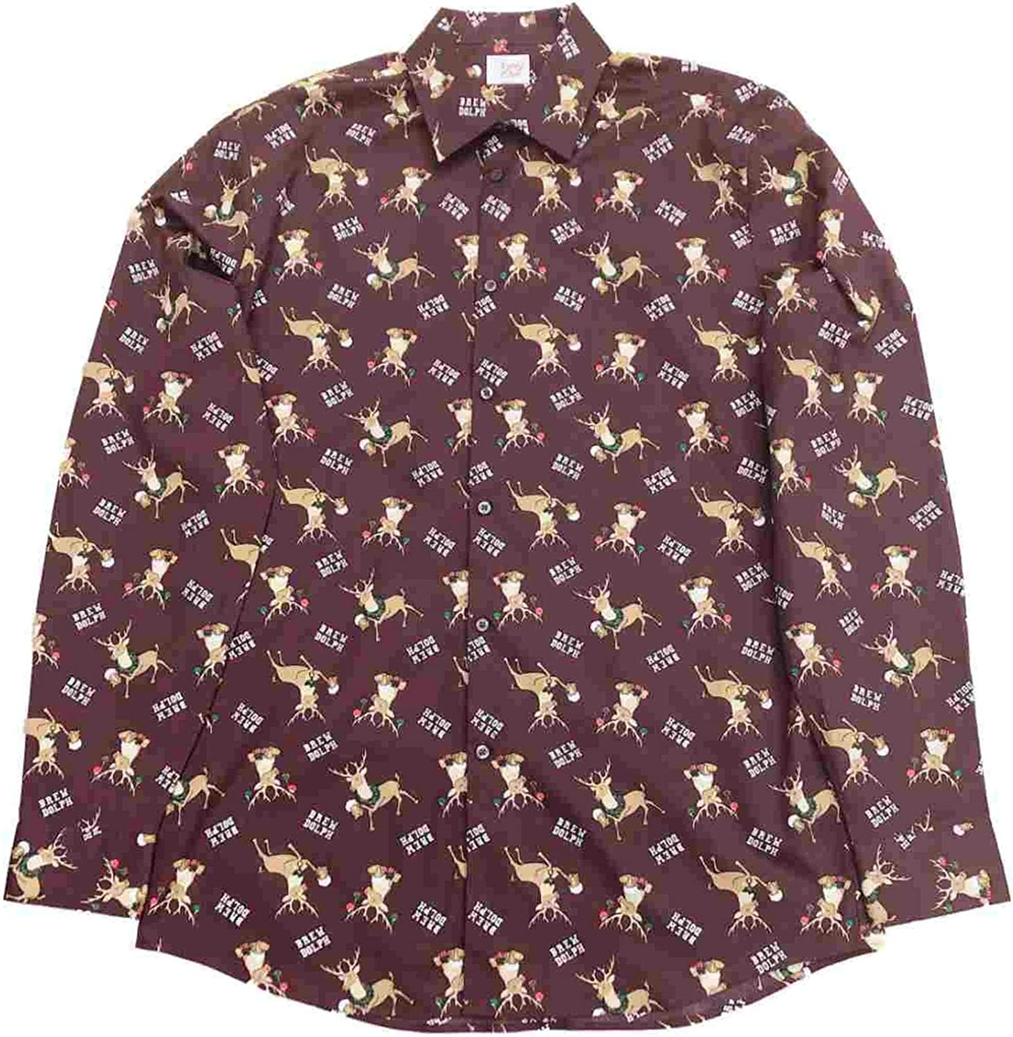 North Pole Trading Co. Mens Brown Rudolph Reindeer Brew Beer Christmas Long Sleeve Button Shirt