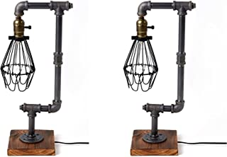 Pack of 2 Bird Cage Designer Steampunk Water Piping Desk Top Table Lamp Wood Base Rustic Home Deco Steam Punk Industrial I...