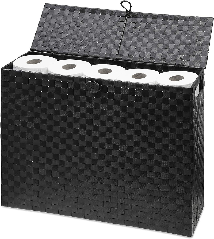 Portarotolo multiuso autoportante in polipropilene intrecciato su telaio in metallo nero ARPAN ideale per bagno o toilette 15 x 49,5 x 39 cm