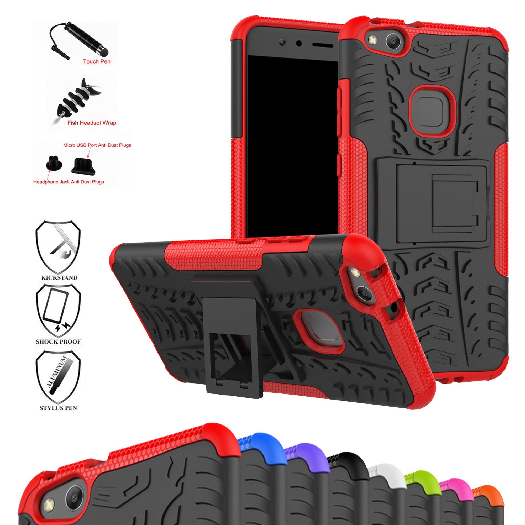 MAMA MOUTH Huawei P10 Lite Funda, Heavy Duty Silicona híbrida con Soporte Cáscara de Cubierta Protectora de Doble Capa Funda Caso para Huawei P10 Lite Smartphone,Rojo: Amazon.es: Electrónica