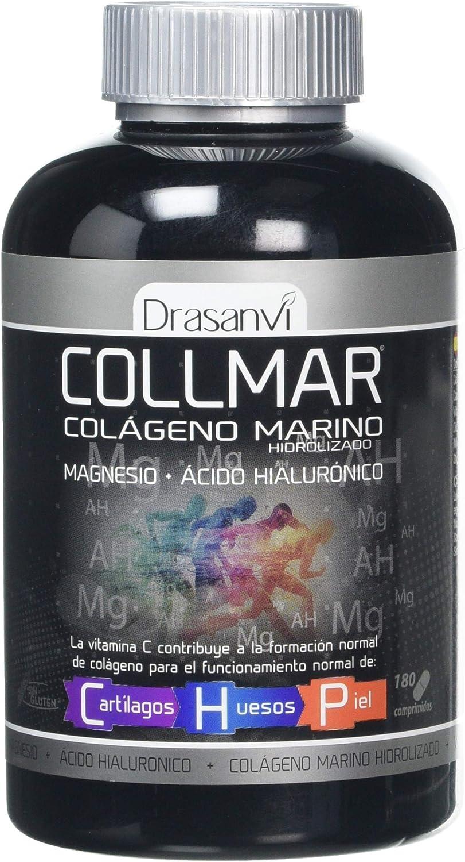 Colágeno marino Drasanvi Colmar hidrolizado con magnesio, ácido hialurónico y vitamina C - 180 comprimidos (pack 2 u.)