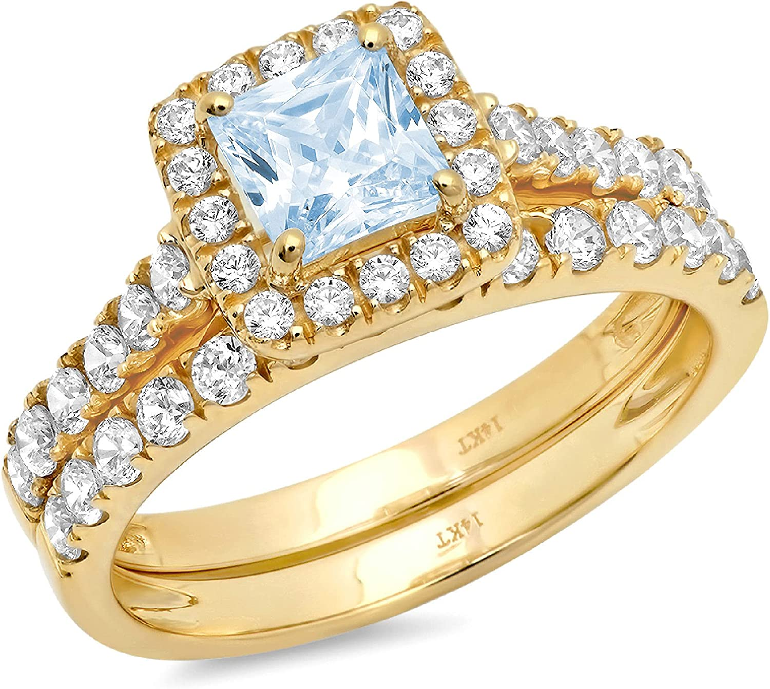 1.60ct Princess Brilliant Cut Halo Pave Solitaire Accent Natural Swiss Blue Topaz Engagement Promise Statement Anniversary Bridal Wedding Ring Band set Solid 18k Yellow Gold