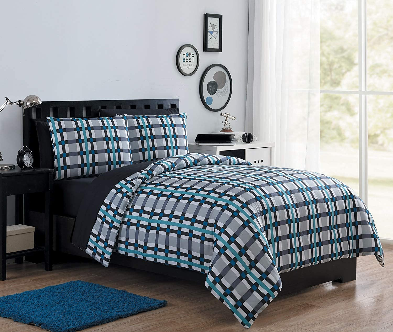 VCNY Home Emmitt Checkered 7 Piece Bed-in-A-Bag Comforter Set, Full, bluee