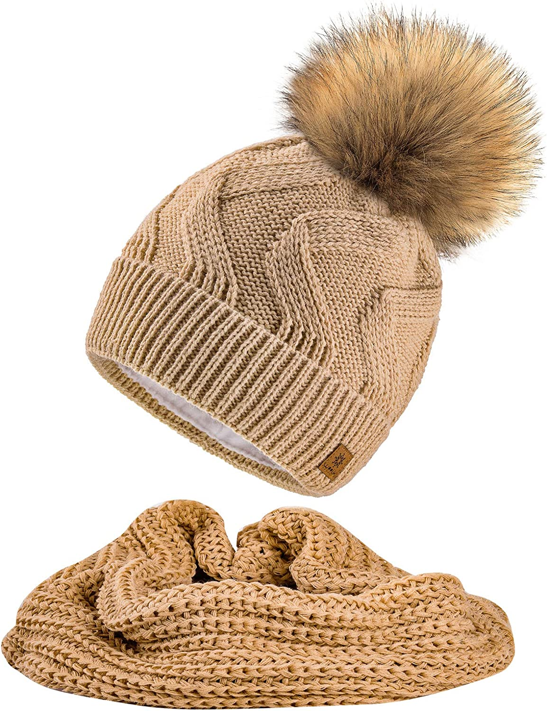 MFAZ Morefaz Ltd Set M/ütze /& Schal Damen Winter Beanie Strickm/ütze Zickzack Wurm Fleece Bommel Pom Pom