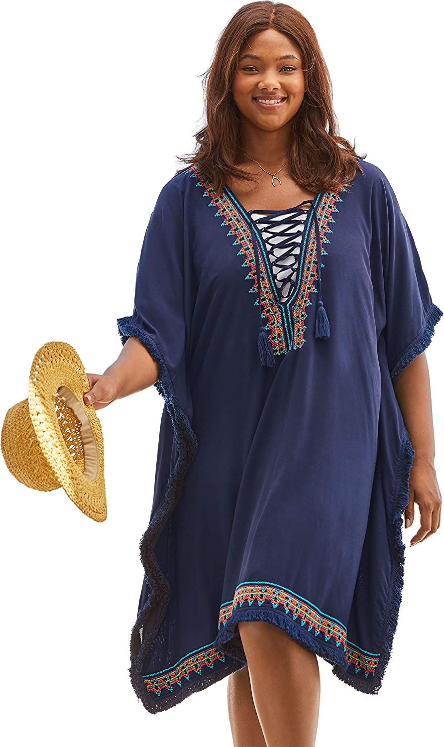 Swimsuits For All Women's Plus Size Lace-Up Caftan Cover Up Swimsuit Cover Up