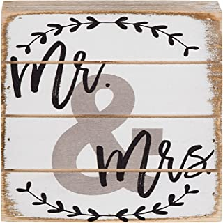 Mr. & Mrs. Wedding Decorative Wood Pallet Sign 6 Inch Square Stand or Hang