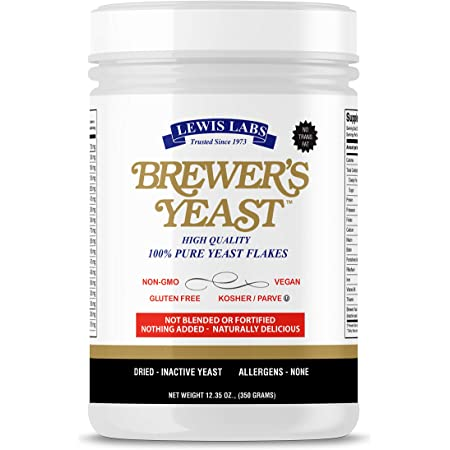 Lewis Labs Brewer's Yeast Flakes | Beer Yeast Is A Rich Source Of Amino Acids, B-Complex Vitamins, Minerals & Protein | Our Pure Bakers Yeast Is Vegan, Keto, Paleo Friendly | Unsweetened, 12 Ounces