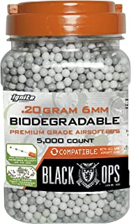 Black Ops .20 g Biodegradable Airsoft BBS - 5,000 Triple Polished 6mm BBS