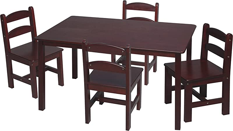 Gift Mark Rectangle Table Set With 4 Chairs Cherry