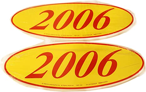2017 Red Numbers on Yellow 12 Per Pack CADS Oval Model Year Window Stickers