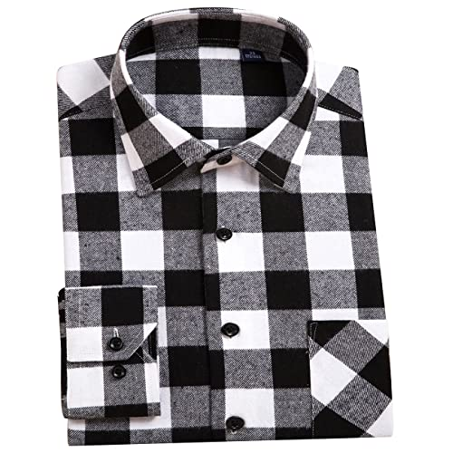 09960c57f DOKKIA Men s Dress Buffalo Plaid Checkered Fitted Long Sleeve Flannel Shirts