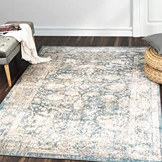A2Z Rug Vintage Traditional Design Modern Santorini 6076 Collection Area Rugs Blue 2' x 8'