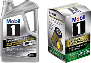 Mobil 1 Advanced Full Synthetic Motor Oil 0W-40, 5-Quart bundle with Mobil 1 Extended Performance Oil Filter, M1C-253A, 1-Count