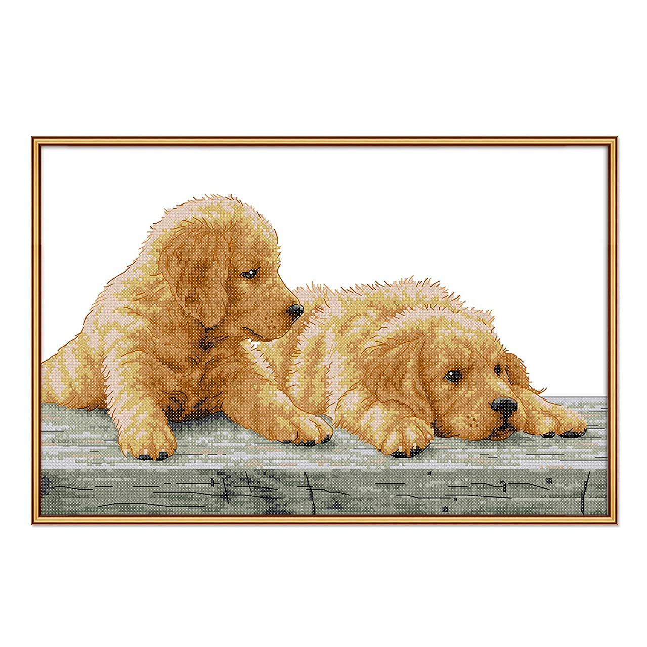 Stamped Cross Stitch Kits with Pre-Printed Patterns Cross Stitch Kits Beginner Adult Cross Stitching Stamped Kits, Embroidery Crafts Needlepoint Dog Brother Kits for Home Decorations