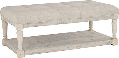Signature Design by Ashley Shawnalore Farmhouse Upholstered Solid Wood Ottoman Coffee Table, Whitewash