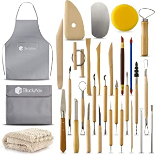 BlackyVox Pottery and Clay Sculpting Tools Double Sided Tool Set Sturdy Toolkit 28 Pcs for Polymer Clay Tools For Carving and Chipping Sculpting Tool Set for Beginner Carrying Case Artist Apron Cloth