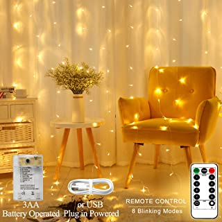 Areskey LED Curtain Lights 300 LED Icicle String Light 10Ftx10Ft Window Light USB Battery Operated 8 Modes RC Waterproof Christmas Decorative Bedroom Indoor Outdoor Wedding Party Warm White
