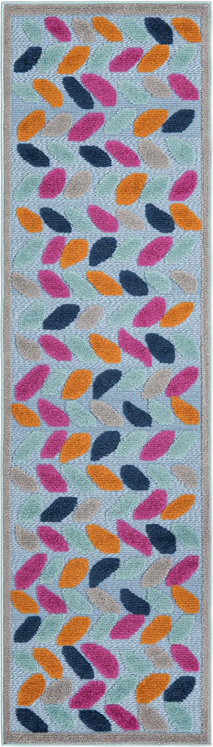 Rugs.com Aruba Ranking TOP10 Outdoor Collection Rug – 8 Runner Ft Low-Pil Blue Choice