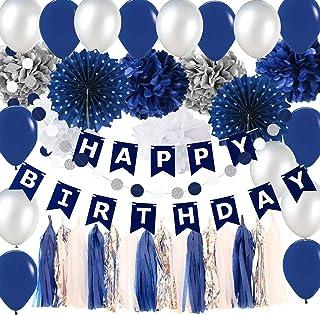 Navy Silver Birthday Party Decorations Boy/Bridal Shower Decorations Tissue Pom Pom Latex Balloons Silver Polka Dot Paper ...