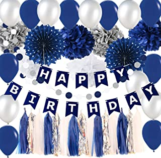 Navy Silver Birthday Party Decorations Boy/Bridal Shower Decorations Tissue Pom Pom Latex Balloons Silver Polka Dot Paper Fans for Boy First Birthday Decorations Outer Space Birthday