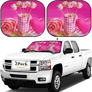MSD Car Windshield Sun Shade, Universal Fit, 2-Piece for Car Window SunShades, Automotive Foldable Protector Cover, Pink Marshmallow pops with Heart Shape and Pearl Sprinkles in Cup for Valentine IMA
