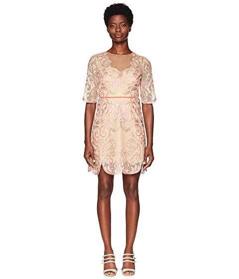 35a608ac Marchesa Notte 3/4 Sleeve Metallic Filagree Embroidered Cocktail Dress