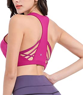 SPRING SEAON Women Sports Bras Removable Padded Seamless Medium Impact Workout Yoga Bra