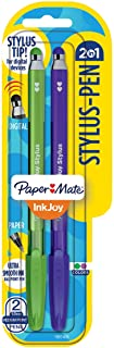 Paper Mate InkJoy 2 in 1 Stylus Ballpoint Pens, Medium Point, Assorted, 2 Pack (1951406)