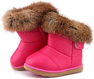 LONSOEN Toddler Girls Boots Fur Lined Winter Boots Shoes