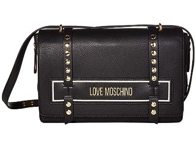 LOVE Moschino Studded Logo Bag (Black/Black Natural Grain Mix Calf) Handbags