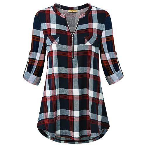 3e523c0a15325 Baikea Women's 3/4 Rolled Sleeve Zipped V Neck Plaid Shirt Casual Tunic  Blouses