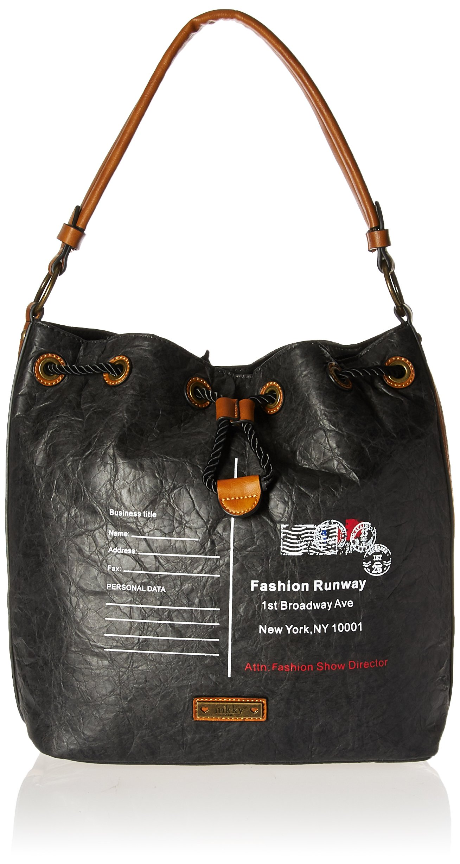 Nikky女性のファッショントレンド封筒デザインプリントブラックレトロな外観のカジュアルバッグNikkyショルダーバッグブラックコード