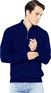 State Cashmere Half Zip Mock Neck Pullover 100% Pure Cashmere Polo Neck Sweater