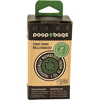 The Original Poop Bags Countdown Rolls USDA Biobased Pet Waste Bags - Individually Numbered Bags