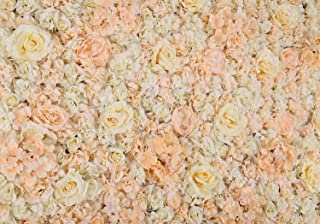 "PROPHOTOCONNECT 48""X 96"" Artificial Silk Rose Flower Wall Background Wedding Party Decor White"