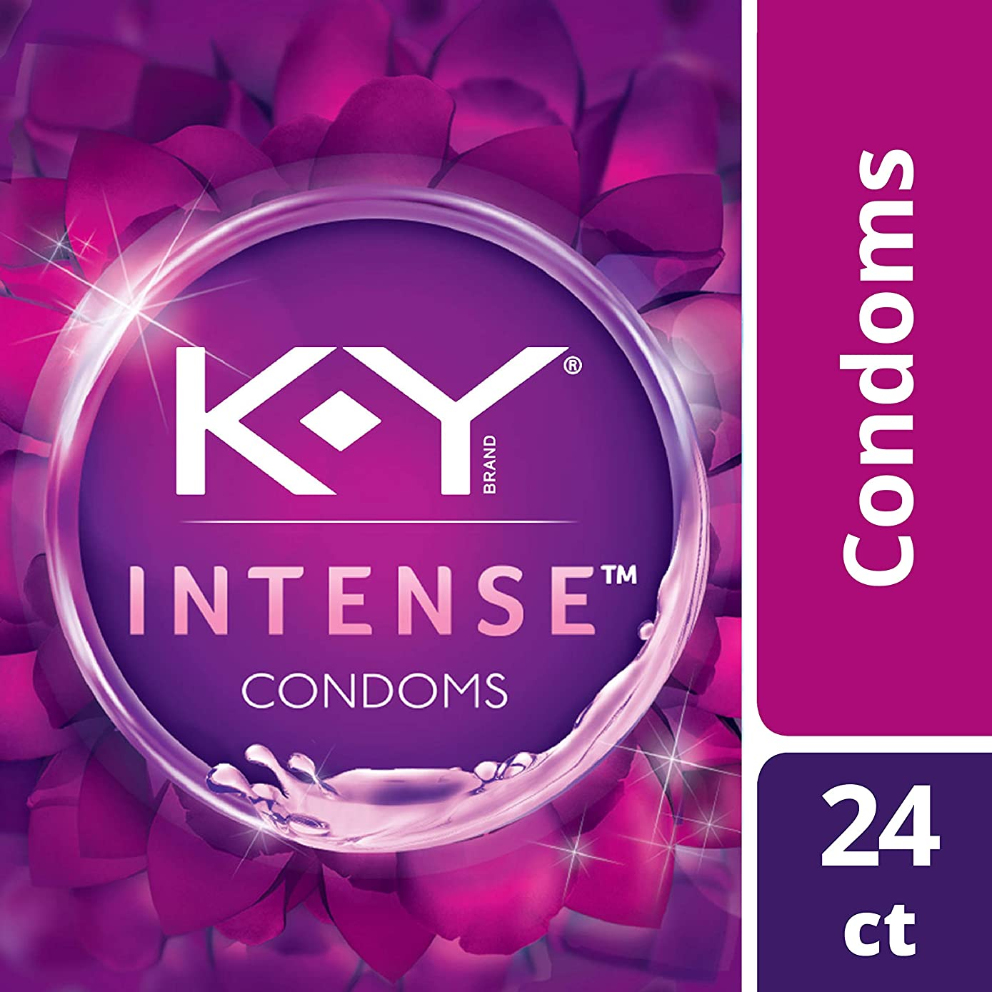 Condoms, K-Y Me & You Intense Latex Ultra Thin Condoms. Intensifying Sensation for Her & Natural Fit for Him. 24Count. Natural Rubber Latex Condoms with Water-Based Lubricant. HSA Eligible