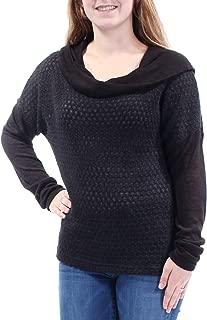 Womens Knit Cowl Neck Pullover Top Medium Black