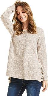SONJA BETRO Women's Boucle Knit Lacing Accent Scoopneck Tunic Plus Size